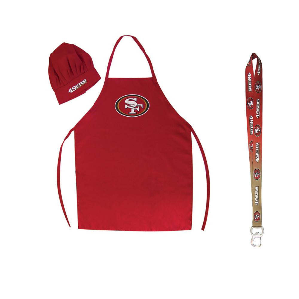 San Francisco 49ers NFL Barbeque Apron and Chef's Hat with Bottle Opener
