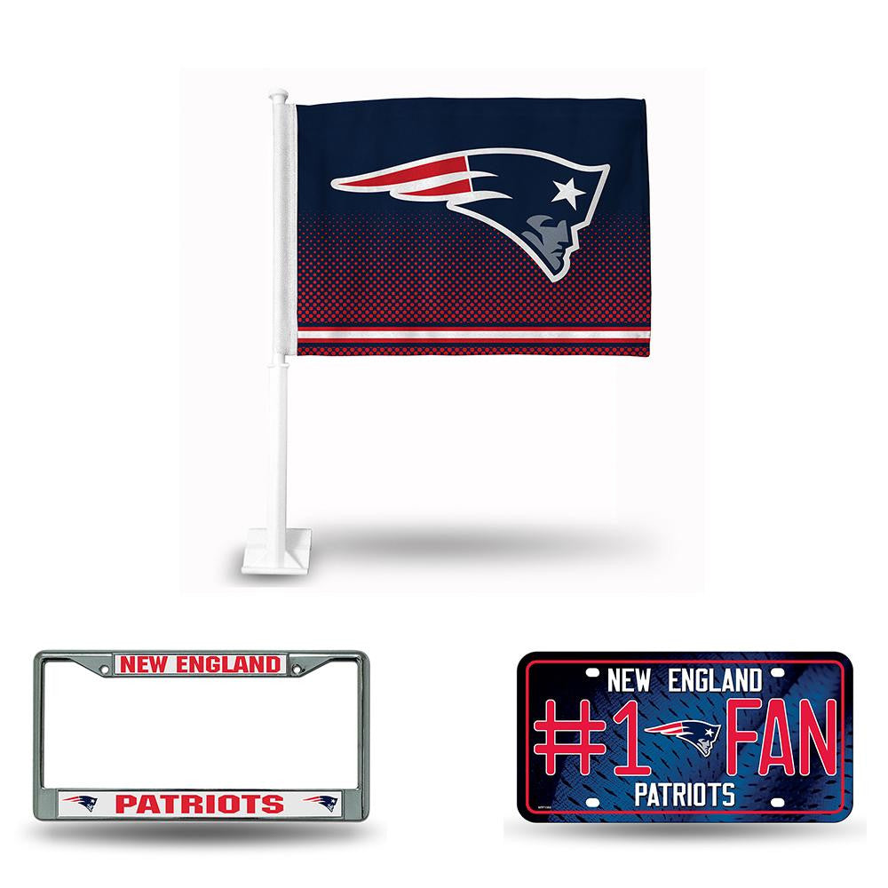 New England Patriots NFL 3 Piece Auto Fan Pack