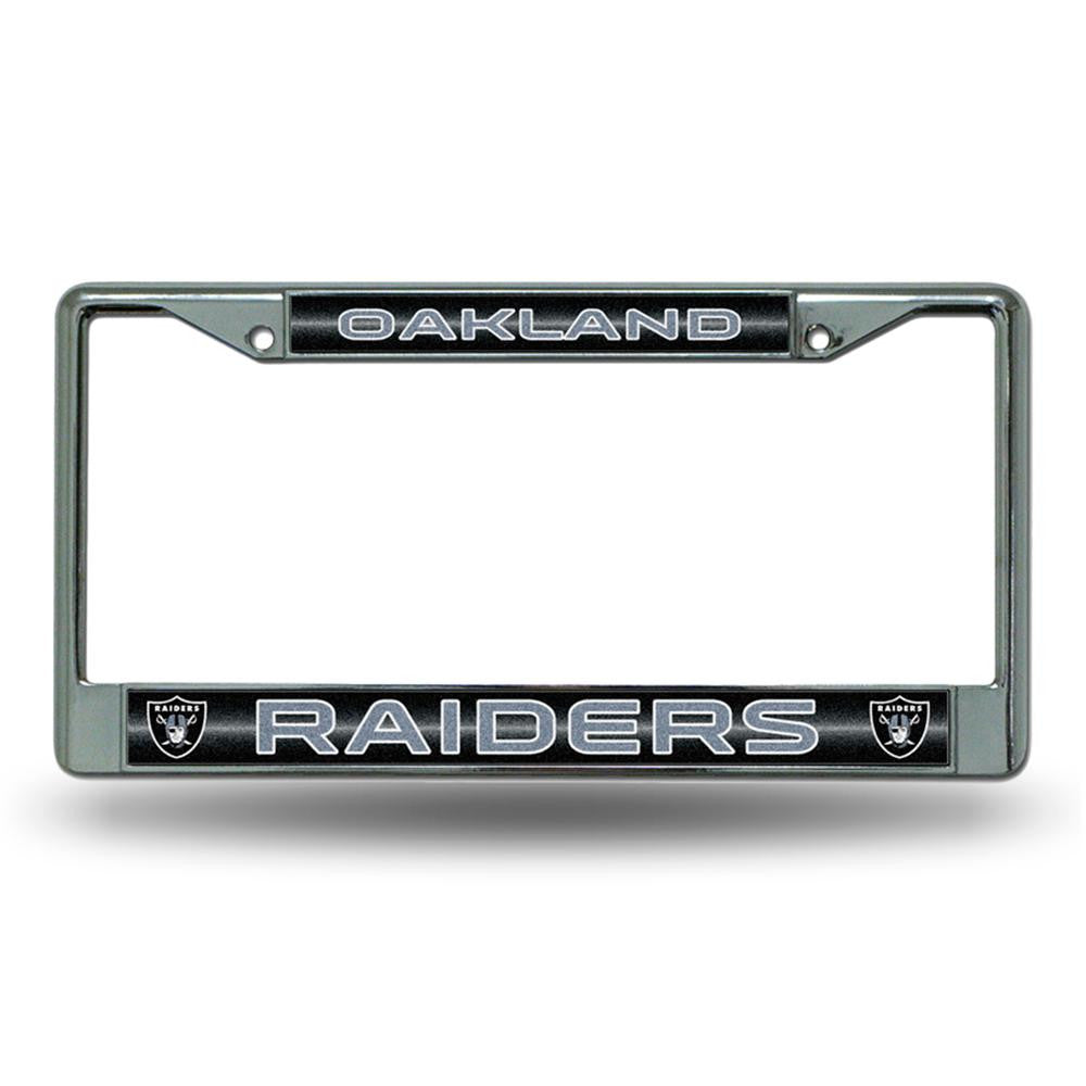 Oakland Raiders NFL Bling Glitter Chrome License Plate Frame
