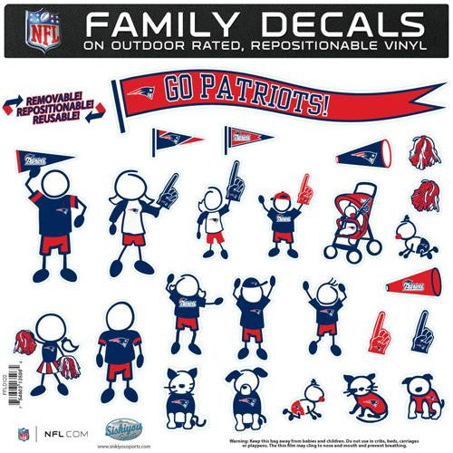 New England Patriots NFL Family Car Decal Set (Large) xyz