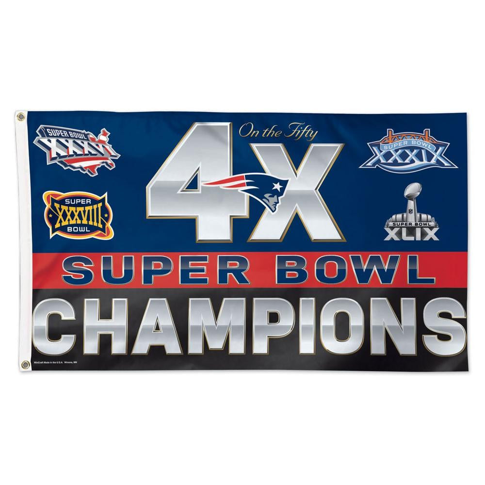 New England Patriots NFL 4x Super Bowl Champs Commemorative 3ftx5ft Deluxe Flag