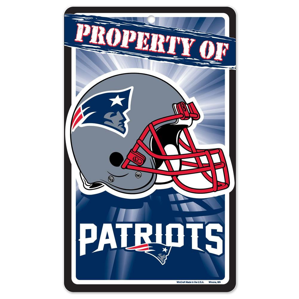 New England Patriots NFL Property Of Plastic Sign (7.25in x 12in)