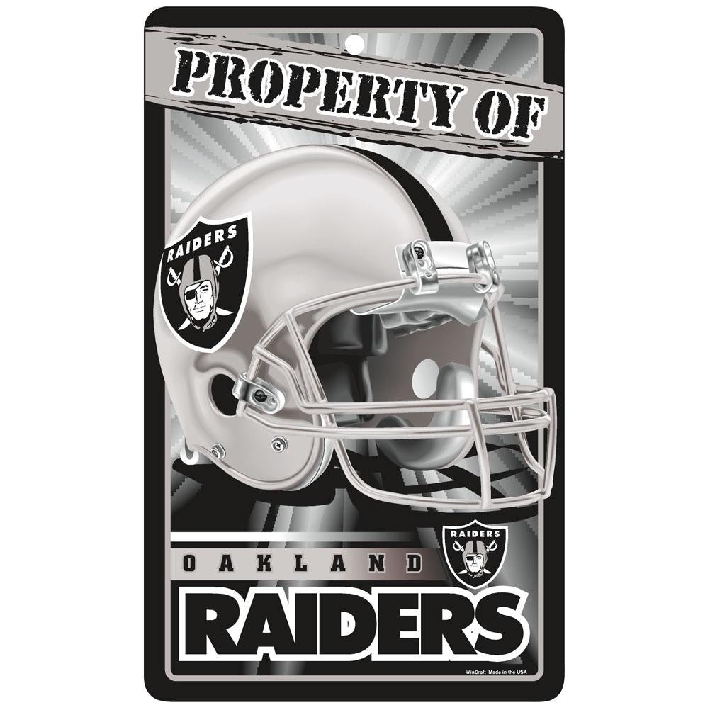 Oakland Raiders NFL Property Of Plastic Sign (7.25in x 12in)