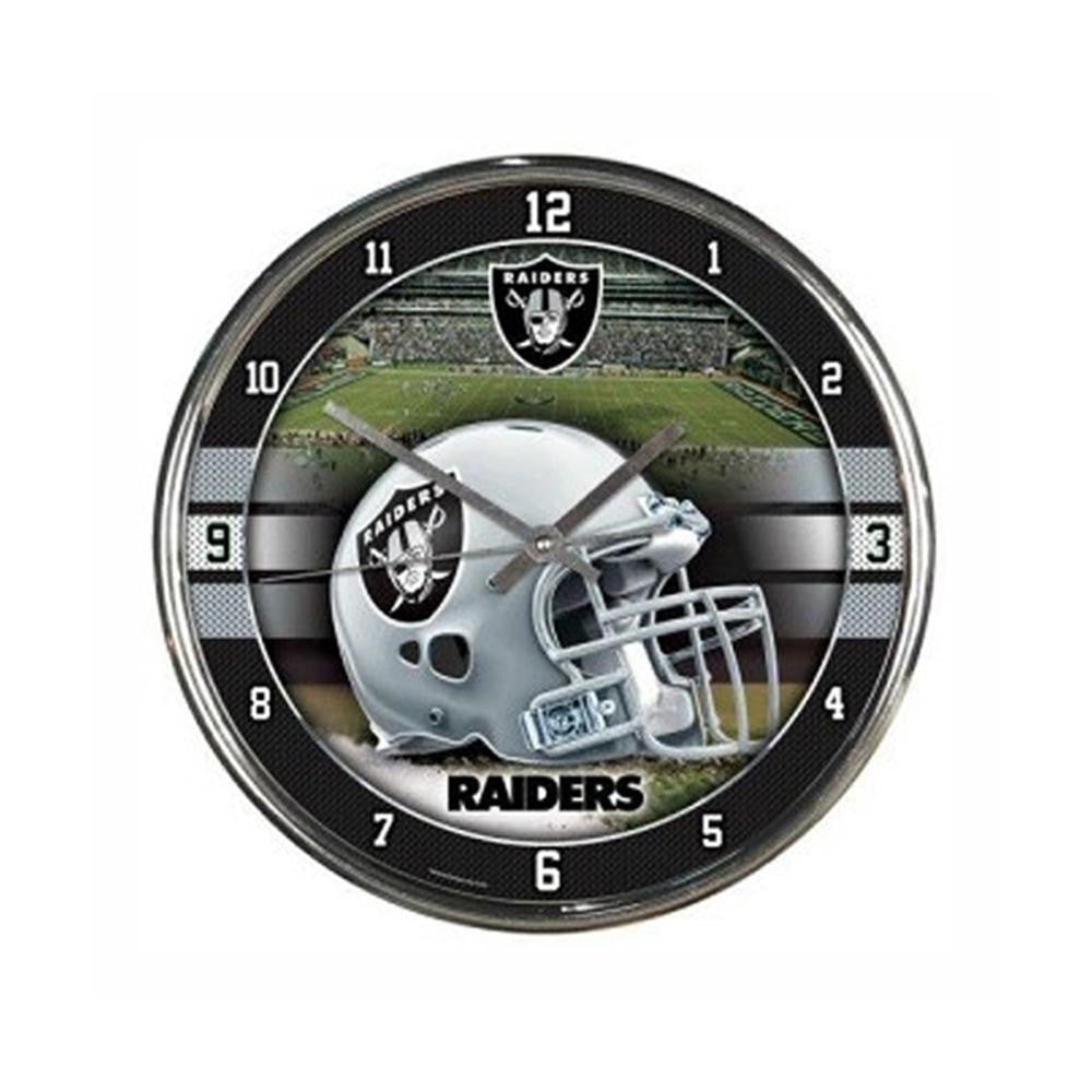 Oakland Raiders NFL Chrome Round Clock