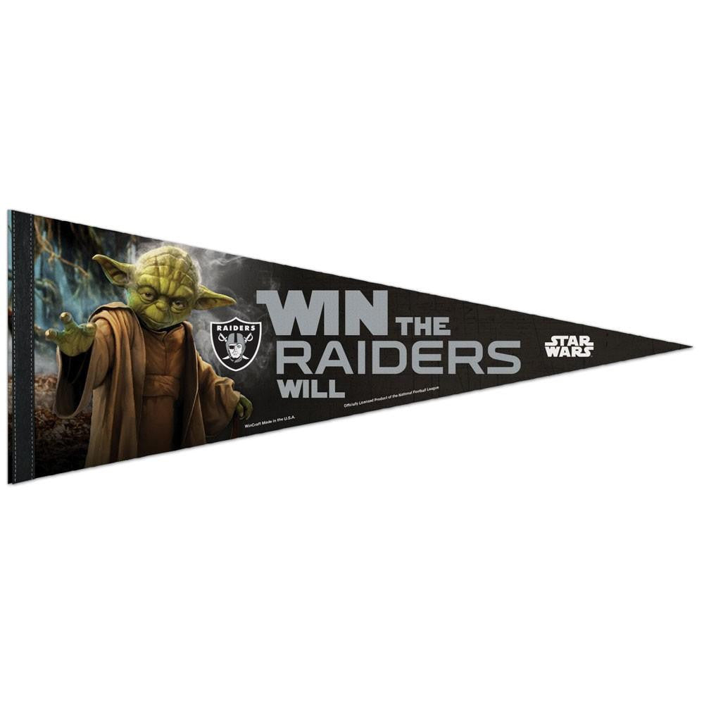 Oakland Raiders NFL Star Wars Yoda Premium Pennant (12in. x 30in.)