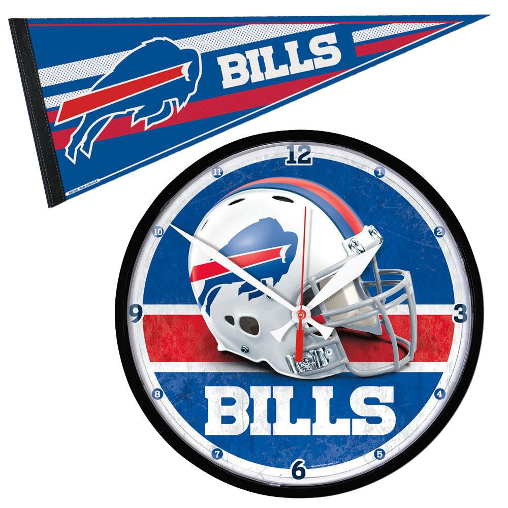 Buffalo Bills NFL Round Wall Clock and Pennant Gift Set
