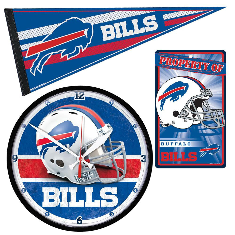 Buffalo Bills NFL Ultimate Clock, Pennant and Wall Sign Gift Set