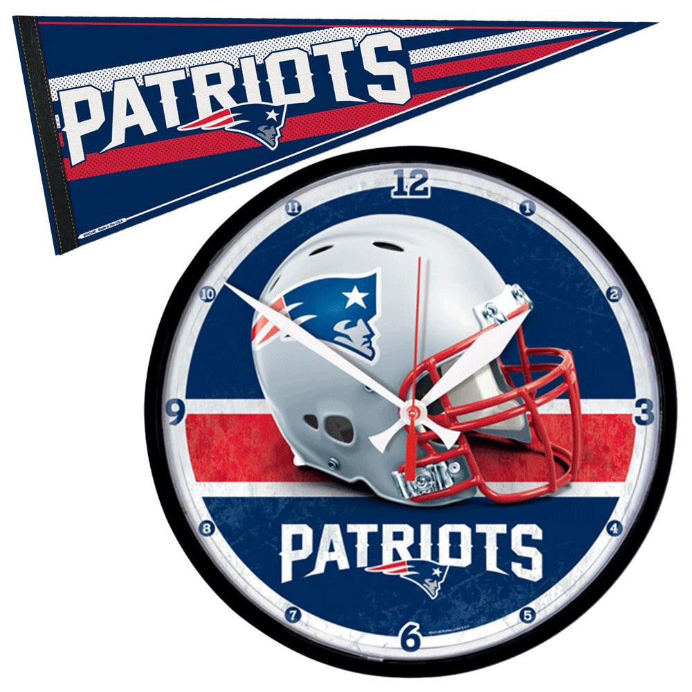 New England Patriots NFL Round Wall Clock and Pennant Gift Set