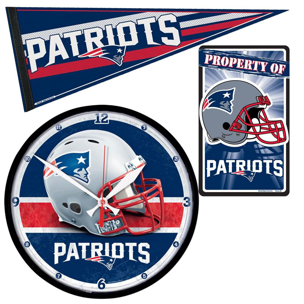 New England Patriots NFL Ultimate Clock, Pennant and Wall Sign Gift Set xyz