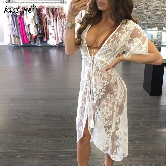 af1796b12a144 Lace Pareo Beach Cover Up Hollow 2018 New Bikini Cover Up Robe De Plage  Summer Beachwear