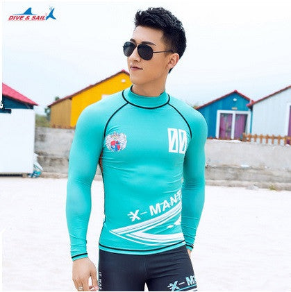 f296a24567966 Long Sleeve Men Sunscreen Surfing Rashguard Sun Protection Wetsuit  Jellyfish Proof Diving Suit Swim Shirts Surfing