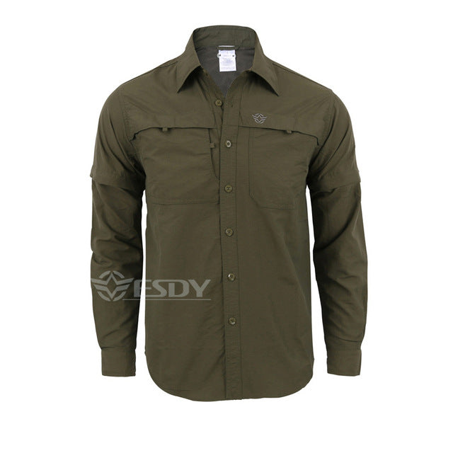 da6c4b8dffe Men s Detachable Long Sleeve Quick Dry Shirt Military Tactical Outdoor  Hiking Breathable Anti UV Removable Lapel