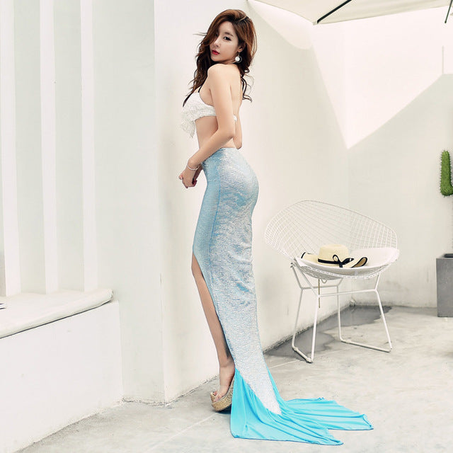 c955016fa81d3 Mermaid Sexy Beach Dress Bikini Cover Up Swimwear Women Swimsuit Cover Up  Swim Robe De Plage