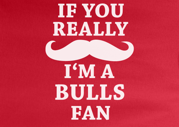 Red Custom 1 Color If You Really Mustache I'm A Chicago Bulls Fan Tee Tshirt T-Shirt