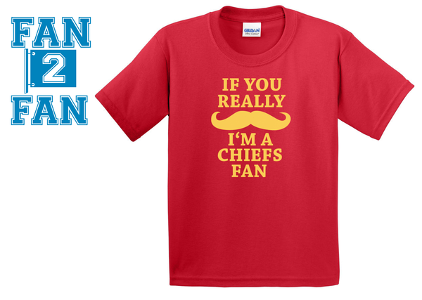 Red  Custom 1 Color If You Really Mustache I'm a KC Kansas City Chiefs Fan Tee Tshirt T-Shirt