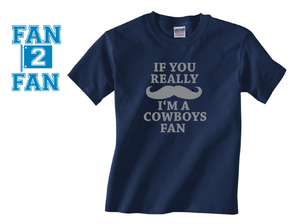 Navy Custom 1 Color If You Really Mustache I'm a Dallas Cowboys Fan Tee Tshirt T-Shirt