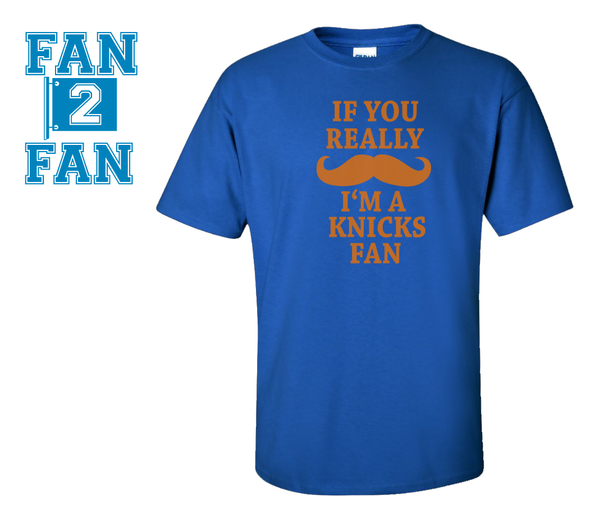 Blue Custom 1 Color If you mustache I'm a NY New York Knicks Tee Tshirt T-Shirt Basketball