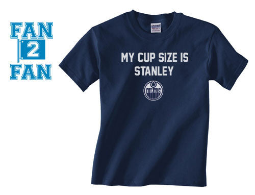 Navy My Cup Size is Stanley Stanly Edmonton Oilers Hockey Tee Tshirt T-Shirt