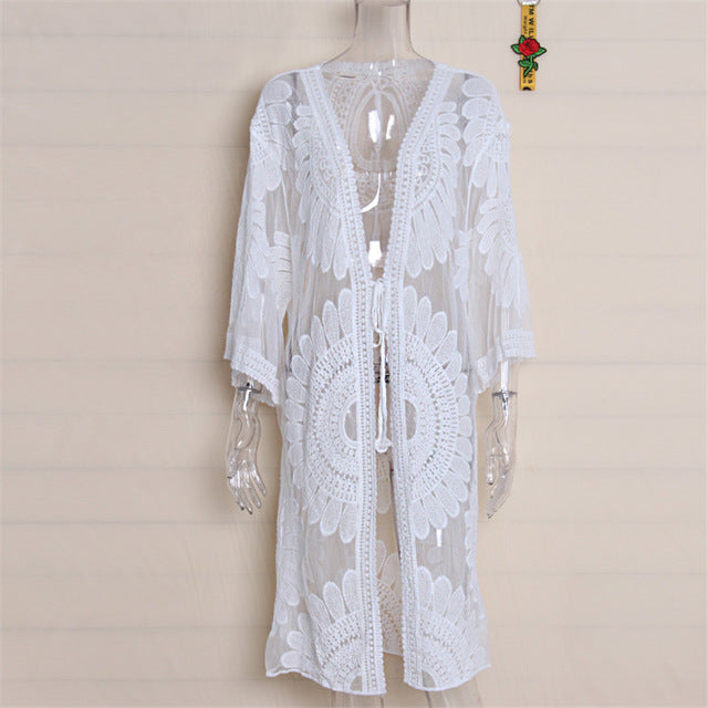 db185972c8 Pareo Beach Cover Up Floral Embroidery Bikini Cover Up Swimwear Women Robe  De Plage Beach Cardigan