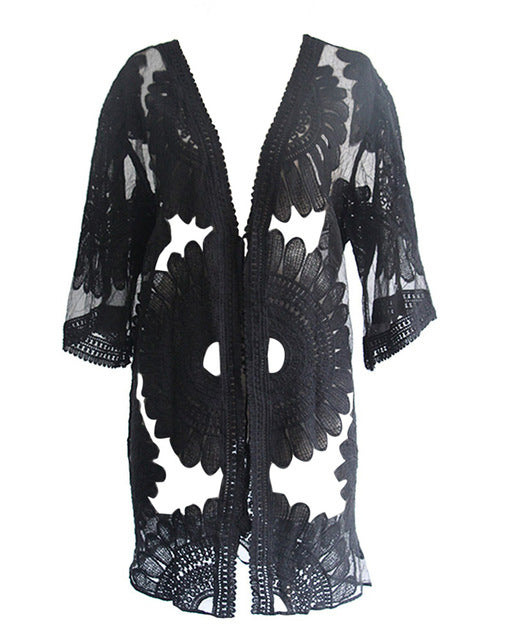 e6622eaa63 ... Pareo Beach Cover Up Floral Embroidery Bikini Cover Up Swimwear Women  Robe De Plage Beach Cardigan ...