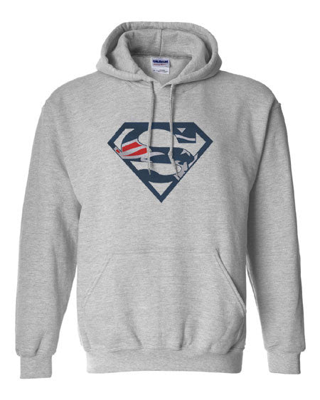 Custom New England Patriots Superman Hoodie Hooded Sweatshirt
