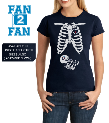 Navy Custom Skeleton Baby Pregnant Maternity Wife GF Chicago Bears Fan Tee Tshirt T-Shirt