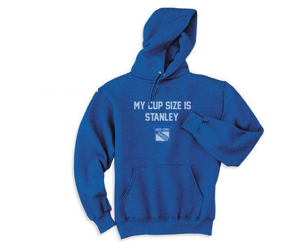 Blue My Cup Size is Stanley NY New York Rangers Hoodie Hooded Sweatshirt Ladies Child Toddler Men