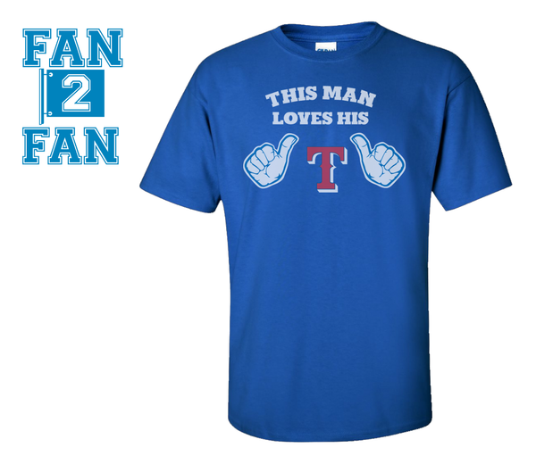 Blue This Girl or Guy Man Loves the Texas Rangers Baseball Tee Tshirt T-Shirt