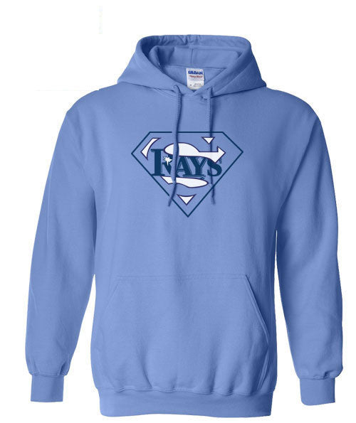 Carolina Blue Tampa Bay Devil Rays Devilrays Baseball Superfan Superteam Superman Hoodie Hooded Sweatshirt Ladies Child Toddler Men