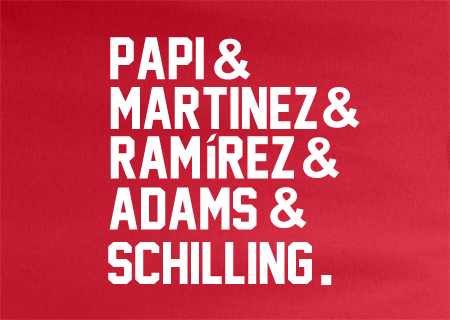Red Ampersand Boston Redsox Big Papi Pedro Manny Schilling World Series Tee Tshirt T-Shirt