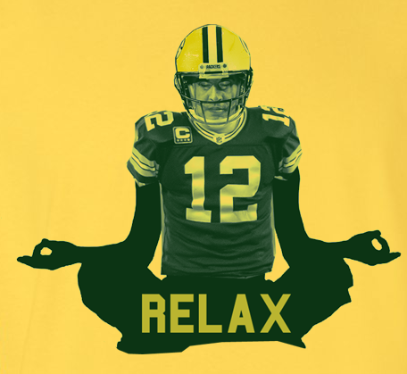 Gold Aaron Rodgers Relax Yoga Pose Green Bay Packers Fan T-Shirt Tee Tshirt
