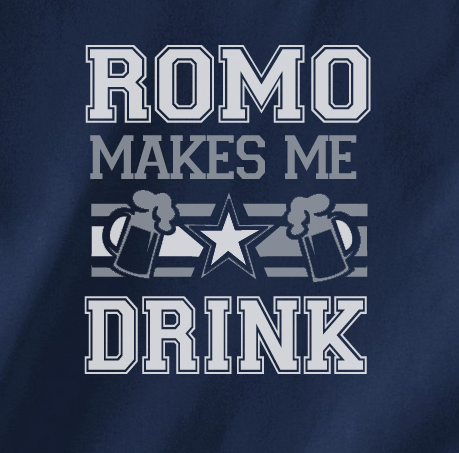 Navy Beer Version Custom 2 Color Tony Romo Makes me Drink Cowboys Fan Tee Tshirt T-Shirt Ladies