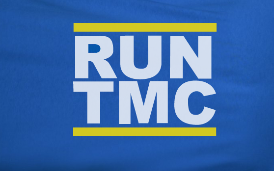 Blue Custom 2 Color Golden State Warriors RUN TMC Hardaway Richmond Mullen Tee Tshirt T-Shirt