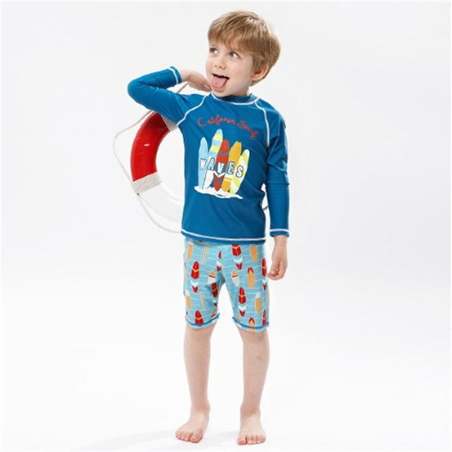 487e151a9c S-XXL Children Bathing Suits 2018 New Long Sleeve Sunscreen Print Two Pieces  Courageous Boys ...