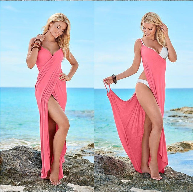 a2c3079bfd Sexy Off Shoulder Summer Beach Wrap Maxi Dress Women 2018 Boho Cover Ups  Sleeveless Plus Size
