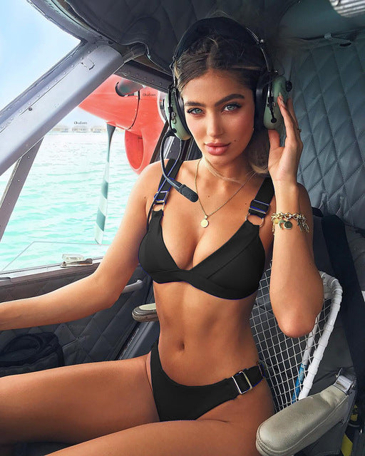 d50bf566062 Solid Push Up With Metal Button Swimsuit For Women Sexy Summber Beach Swim  Bikini set 2018