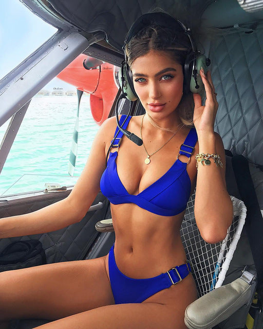 vuoto bandiera nazionale Brillante  Pretty Bikini Set Solid Push Up With Metal Button Swimsuit For ...