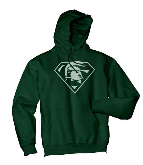 Forest Green Michigan State MSU Spartans Superfan Superteam Superman Hoodie Hooded Sweatshirt Ladies Child Toddler Men