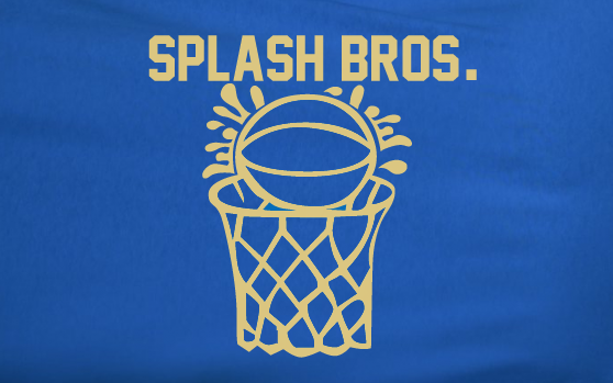 Blue Custom 2 Color Splash Bros Brothers Stephen Curry Klay Thompson Basketball Tee Tshirt T-Shirt