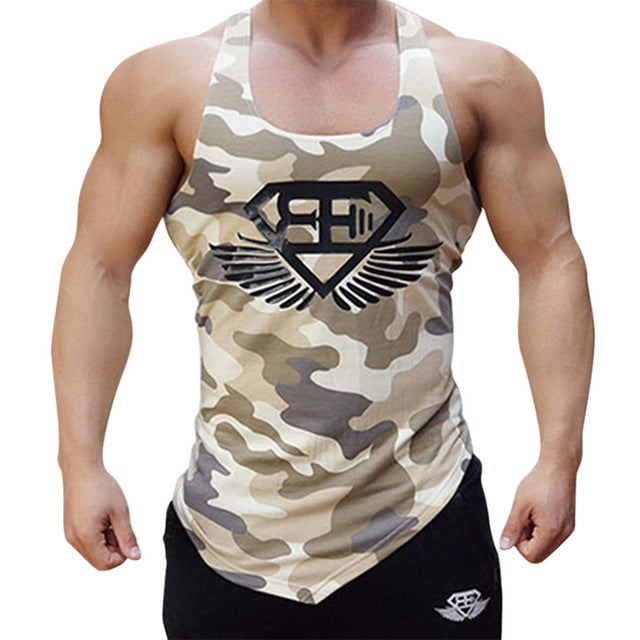 a17ff29ab6a397 Sport Fitness Men Tank Top Army Camo Camouflage Mens Bodybuilding Stringers  Vest Singlet Clothing Sleeveless Running