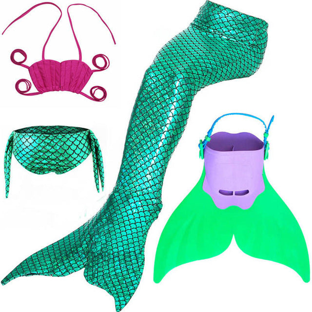 d41fca4c069 Swimming Mermaid Tail Costume with Monofin Girls Bathing Suit Little  Children Ariel Mermaid Tail Cosplay Kids