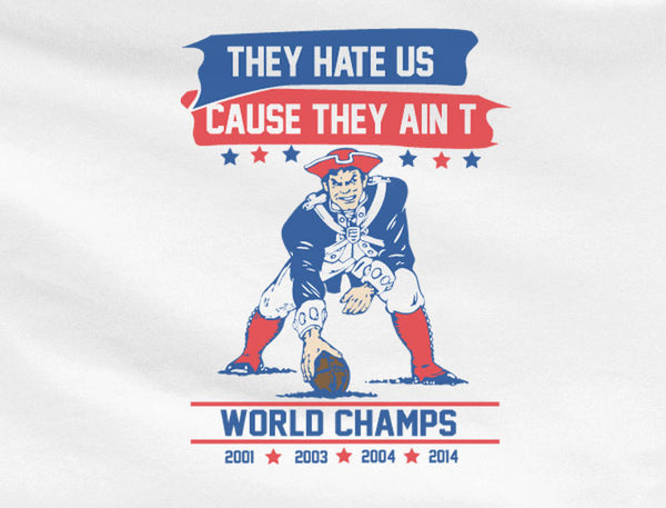 White Premium Custom 2 Color New England Patriots They Hate us Cause they ain't us Hoodie Hooded Sweatshirt Football Unisex