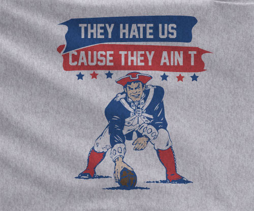 Gray Premium Custom 2 Color New England Patriots They Hate us Cause they ain't us Hoodie Hooded Sweatshirt Football Unisex