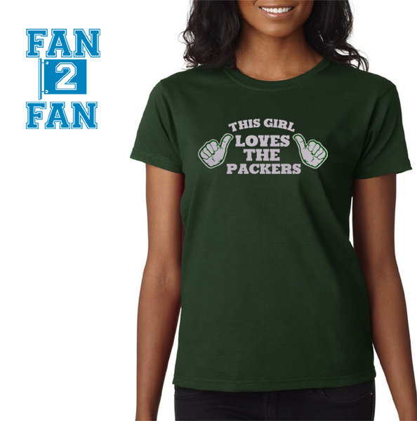 Green This Girl Loves the Green Bay Packers Tee Tshirt T-Shirt