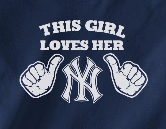 Navy Funny This Girl Loves her NY New York Yankees Baseball Tee Tshirt T-Shirt Ladies Mens Child