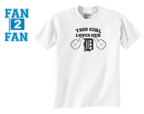 White Funny This Girl Loves Detroit Tigers Baseball Tee Tshirt T-Shirt