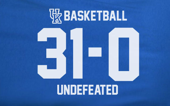 Blue Premium Custom 1 Color University of Kentucky Basketball Wildcats 31-0 Undefeated Tee Tshirt T-Shirt