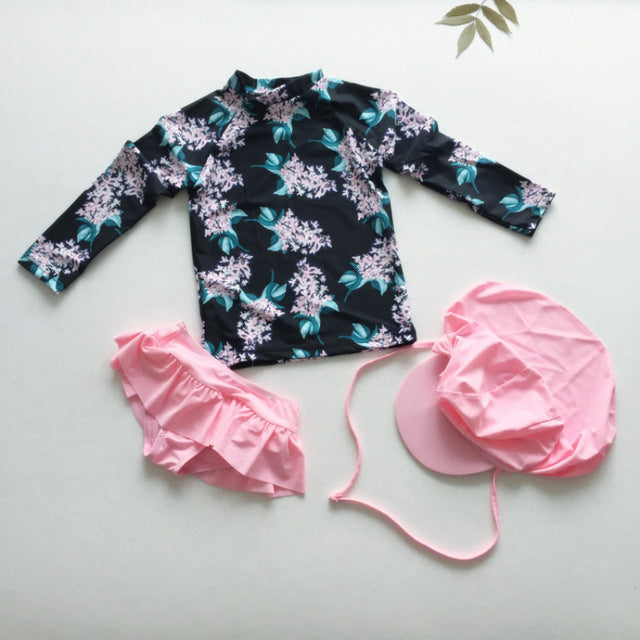 735ebbece5 UPF50+ Children Swimsuits Two Pieces Rash Guard Set Cartoon Floral Print  Sun Protection Long Sleeve Baby