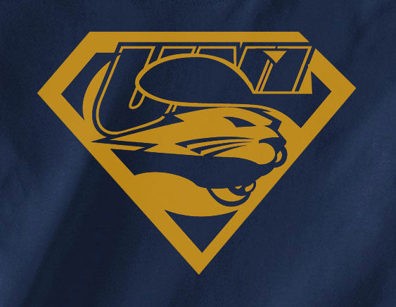 Navy Custom UNI University of Iowa Panthers Superteam Superman Tee Tshirt T-Shirt Batman