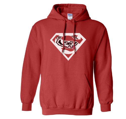 Red Custom 2 Color Wisconsin Badgers Superfan Superteam Superman Hoodie Hooded Sweatshirt All sizes Ladies Unisex Child Toddler Men